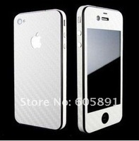 10pcs Free Shipping  Vinyl Skin Protector Carbon Fiber Full Body Sticker for iPhone 4G 4 4TH Gen Hot sale