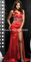 Free Shipping 2012 Hot Sale Sexy Elegant A-line Halter V-neck Beads Taffteta Floor Length Prom Dress pd20120062
