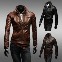 Men's fashion autumn Slim  leather jacket   clothing coat outerwear