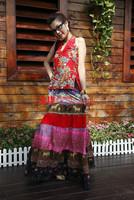 New Women's spaghetti strap vest halter-neck spaghetti strap top handmade beading red Free Shipping