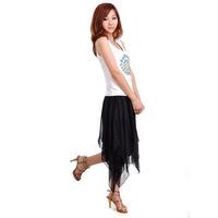 New Encryption lining irregular bust  chiffon skirts solid color medium  short  Skirt Free Shipping