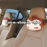 Hot sell 2pcs cute cartoon monkey car seat neck pillow headrest -free shipping