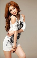 Mini order USD15,2012 Women Sexy Cotton Casual Off Shoulder Long Flowers Printing T-shirt Mini Dress