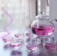 Free DHL Shipping Wholesale 20set/lot Chinese Tea Set 600ml Glass Coffee/Tea Pot+4 pcs Double Glass 50ml Cup+Warmer+Gift Box