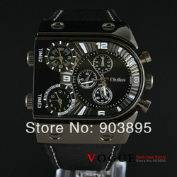 Newest arrival! Russian Military Japan Movt Quartz Mens Wrist Watch 3 time zone Big Dial sports watches soft leather band(China (Mainland))