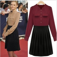 S-M free shipping Manufacturers supply autumn and winter women's black white dot bow slim warm sweater dress