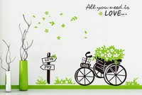 Wholesale Love Flowers bicycle express Wallpaper Mural Decal Decor Home Art Removable Craft 3D Wall Stickers DIY Free shipping