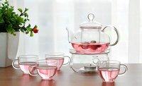 Free Shipping Classic 20sets/lot Chinese Tea Set 600ml Glass Coffee/Tea Pot+4pcs Double Glass 80ml Cup+Warmer+Gift Box