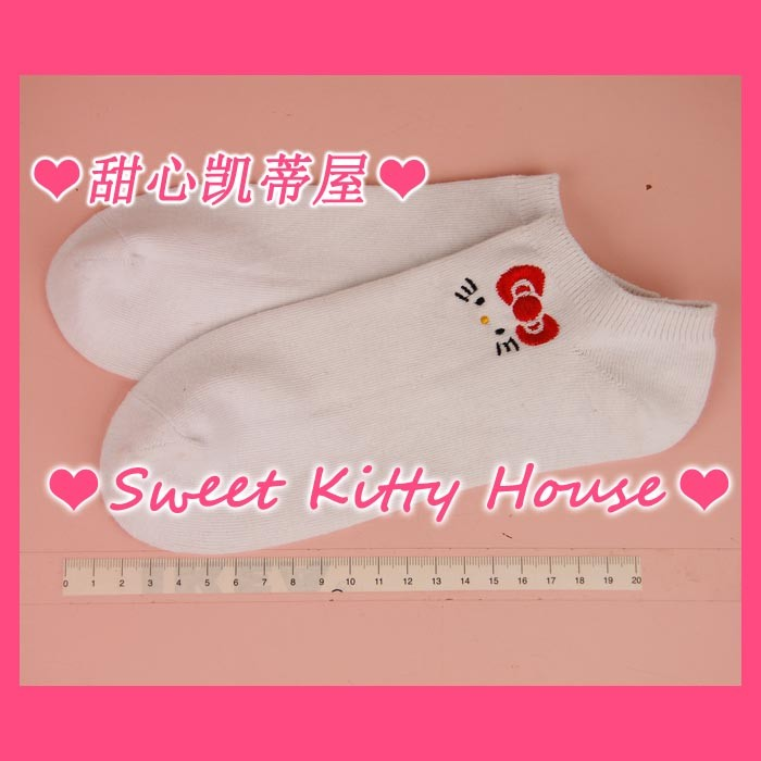 Sweetheart katie hello kitty 100% cotton embroidery short socks 35th commemorative edition sock slippers(China (Mainland))