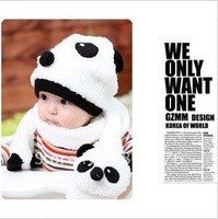 hotsale baby winter Panda wool animal hat,cap with scarf.soft hat suits.2 pcs in one set. 5 sets/lot.free shipping