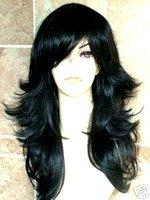 Elegant Faceframe w/ Bangs HEAT OK Jet Black 1# curls Wavy Stylish wigs cosplay queen Lady brazilian  Imitate human hair no lace