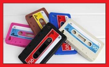 Whosale 5Pcs/Lot iTape Deck Cassette cove case for iphone 4s 4g,For iphone 4s 4g Retro Cassette Tape Case  free shipping LS0004