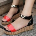 2012 shoes japanned leather platform wedges women's shoes two-color color block decoration women's shoes sandals