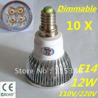 10pcs Dimmable LED High power E14 4x3W 12W led Light led Lamp led Downlight led bulb spotlight FREE FEDEX and DHL