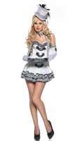 Free Shipping!!! Deluxe Womens Sexy White Cigarette Girl Costume