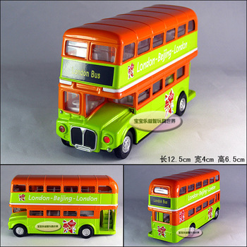 Double layer sightseeing bus exquisite alloy acoustooptical alloy car model