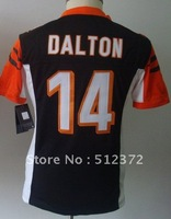 (can mix jersey)!!! Free Shipping! #14 Andy Dalton black   jersey 2013 new women jersey name number all STITCHED(sewn on)