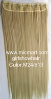 Free shipping-wig,straight hairpiece soft hair ,long hair, 5 clips wig, Color M24/613 60cm,1 pcs,