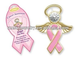 Breast Cancer Arwareness Angel Ribbon Pin Necklace ARN-001(China (Mainland))