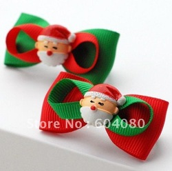 Wholesale Fashion Children Girls Christmas Santa Hairpin Hair Bows,Kid's Ribbon Plastic Bobby Pins For Hair,FJ126(China (Mainland))