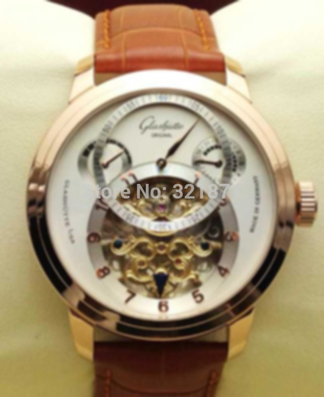 Luxury art treasures rose golden tuo flywheel hollow out double time zone energy display automatic mechine dermal men watch(China (Mainland))