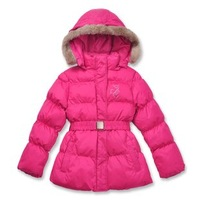 Free shipping female child belt thickening medium-long wadded jacket winter clothes wool collar skiing