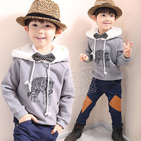 SUNLUN FREE SHIPPING 2012 autumn and winter tiger boys clothing baby fleece with a hood sweatshirt outerwear wt-0815