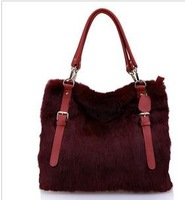 2012 autumn winters lady's bag leather female bag with rabbit hair cow leather bag shoulder aslant feather bag 0266