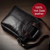 Cowhide man shoulder bag / genuine leather man  business casual handbag / Versatile leather business bag for men
