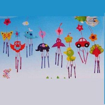 16PCS/LOT.Handmade unfinished wind chime craft kits,DIY fabric aeolian bells,Home decoration,Promotion crafts.8 design,10x40cm