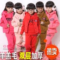 Children's clothing female child winter set winter boy big boy set sportswear casual set 100% cotton thickening piece set