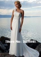 Free shipping latest designer one shoulder petal beading with tail chiffon sea beach bridal wedding dresses WD317