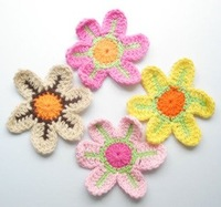 "2.5"" Flowers Handmade Knit Crochet 4 Colors Petals,Embellishments For Christmas/Xmas,100pcs/lot,Free shipping!"