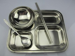 Stainless steel small fast food tray dish child dish square plate dish rice dish(China (Mainland))