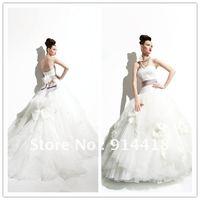 Freeshipping Modern Design Bridal Wedding Strapless Feather Belt  Flowers Wedding Dress Games