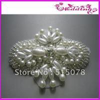 Silver Beaded Pearl Crysstal Rhinestone Aplique