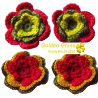 "1.6"" Handmade Knit Crochet Petals Flowers,Embellishments For Christmas/Xmas,100pcs/lot,Free shipping!"