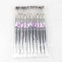 10pcs/lot Metal Acrylic Nail Art UV Gel Carving Pen Brush Gel Nail Brushes NO.4