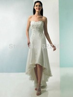 Free Shipping 2012 Hot Sale Sexy Elegant Off Shoulder Soff Satin with Appliques Front Short and Long Back Wedding Dress 20120089
