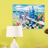 Diy digital oil painting by numbers coloring by numbers handpainted oil painting on canvas with frame -flowers sea