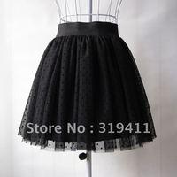 Free shipping all-match polka dot short skirt lace puff basic bust gauze skirt WTP0029