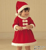2012 newest 2-pcs baby kids Christmas suit(baby hat+girls Dress),best gift for New Year,3 set/lot,Free Shipping