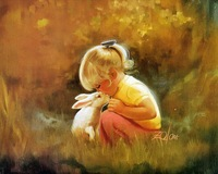 Diy digital oil painting by numbers with frame home decoration handpainted oil painting on canvas-girl and rabbit