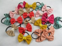 Big Promotion!Wholesale Fashion Sweet Ribbon Bow Elastic Hair bands 21ps/lot,7 colors Free Shipping