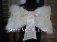 ivory Faux Fur Wrap Shrug Bolero Coat Bridal Shawl wedding good quality warm New D-5