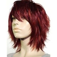 men Wavy short dark red Fibre hair men's style Very chic trend queen wig brazilian With Bangs an Highlights Costume wigs