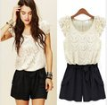 Free shipping 2012 lace ruffle sleeve jumpsuits overall,women shorts,women jumpsuits SIZE S,M,L XL, 2colour