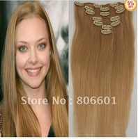 "#27 dark Blonde  clip in on full head remy real 100% human hair extensions Straight 7 pcs 120g 18"" 20""22"" 24""26"" 28"""