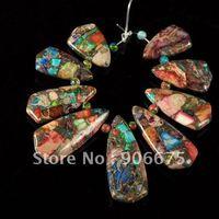 New 9Pcs/Set Mixed Color Pyrite Sea sediment Jasper Gemstone Jewelry Pendants Beads Sets for Necklace Making Wholesale