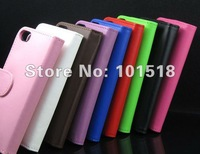 Hot selling Free shipping&50pcs/Lot New Leather Color Wallet Book Case Cover Pouch for iPod Touch 5 5th generation Best Quality